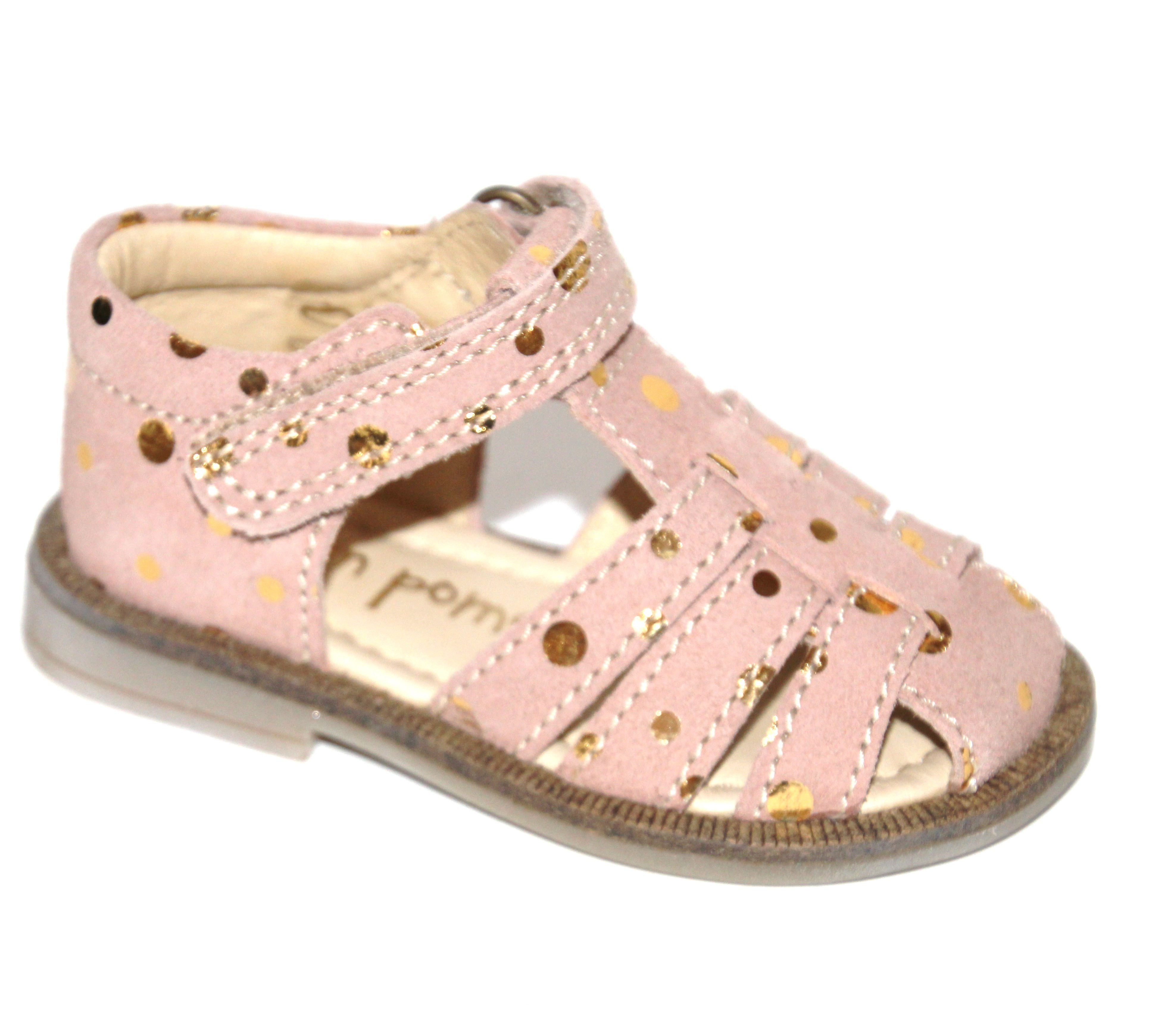 Pom Pom sandal i Peach Gold Dot